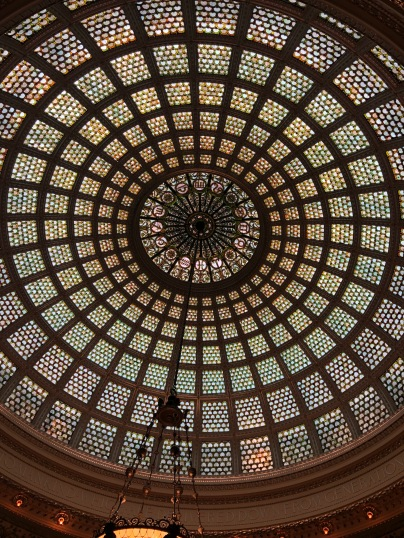 Tiffany glass ceiling in the cultural center (formerly the public library)